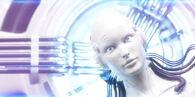 Female robot head with connected cables and glow of light in the background. Illustration symbolising artificial intelligence.
