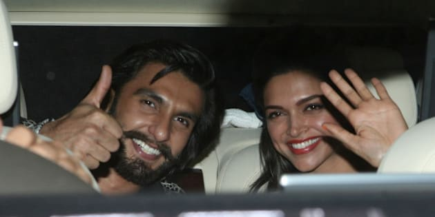 MUMBAI, INDIA  NOVEMBER 16: Ranveer Singh and Deepika Padukone during the promotion of their movie Ram-Leela in Mumbai.(Photo by Milind Shelte/India Today Group/Getty Images)