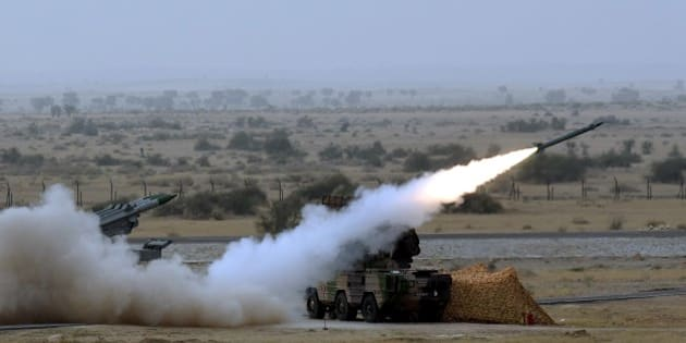 POKHRAN, INDIA - MARCH 18: Medium-range mobile surface-to-air Akash Missiles being fired during Indian Air Force firepower show, 'Exercise Iron Fist' on March 18, 2016 in the desert of Pokhran, India. (Photo by Sonu Mehta/Hindustan Times via Getty Images)