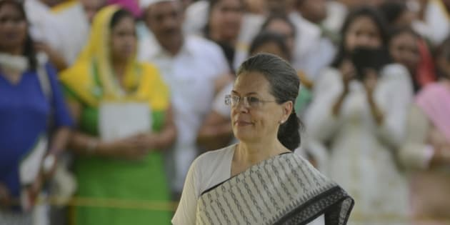 NEW DELHI, INDIA MAY 21: Congress President Sonia Gandhi after paying tributes to former Prime Minister Rajiv Gandhi on his 25th death anniversary, at his memorial 'Vir Bhumi' in New Delhi.(Photo by Pankaj Nangia/India Today Group/Getty Images)