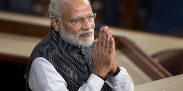 Indian Prime Minister Narendra Modi gestures before addressing a joint meeting of Congress on Capitol Hill in Washington, Wednesday, June 8, 2016. (AP Photo/Manuel Balce Ceneta)