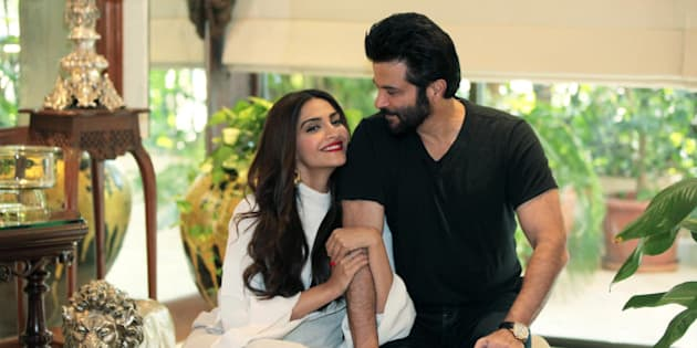 MUMBAI, INDIA - NOVEMBER 29: (Editors' Note: This is an exclusive shoot of Hindustan Times) Bollywood actors Sonam Kapoor and Anil Kapoor during an exclusive interview and photoshoot with HT Cafe-Hindustan Times, at their residence, in Juhu, on November 29, 2015 in Mumbai, India. During the interview, Sonam Kapoor said, 'No one knows my struggle. For instance, I just refuse to take my dad's help.' On Film Reviews, Anil Kapoor said, 'I only read reviews either six months or a year later. At that time, I can look at them objectively.' This year really has been a good one for Anil Kapoor and Sonam Kapoor. While Sonam's latest release has turned into a box office success, it has entered the Rs. 200 crore clubs. The performer has also shot to get a special picture on late flight attendant Neerja Bhanot. Meanwhile, Anil received rave reviews for his part in Dil Dhadakne Do. Now, the senior artiste is busy working on the second season of his TV show that is popular. (Photo by Vidya Subramanian/Hindustan Times via Getty Images)
