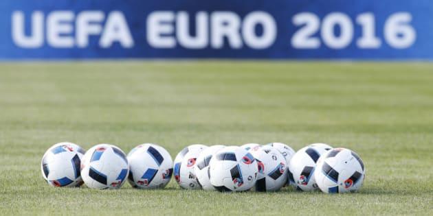 Football Soccer - Euro 2016 - Hungary Training -Tourrettes stadium - Tourrettes, France - 8/6/2016 - Soccer balls are seen during a training.  REUTERS/Eric Gaillard