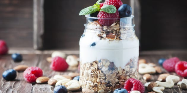 Homemade granola with berry and nuts, selective focus