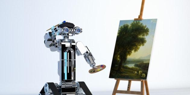 Robot artist painting fine art at easel