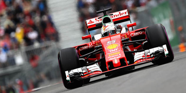 MONTREAL, QC - JUNE 11: Sebastian Vettel of Germany driving the (5) Scuderia Ferrari SF16-H Ferrari 059/5 turbo (Shell GP) on track during final practice ahead of the Canadian Formula One Grand Prix at Circuit Gilles Villeneuve on June 11, 2016 in Montreal, Canada.  (Photo by Mark Thompson/Getty Images)