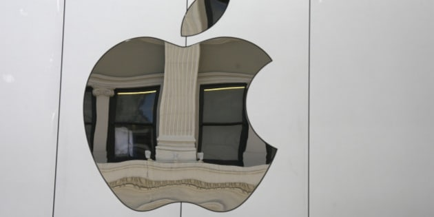 The Apple logo is seen on the side of the new Apple Union Square store Thursday, May 19, 2016, in San Francisco. (AP Photo/Eric Risberg)