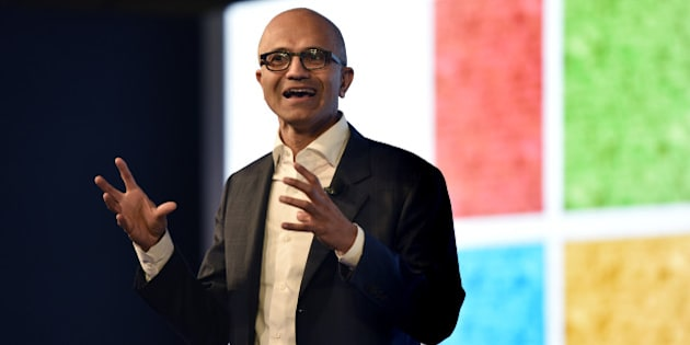 NEW DELHI, INDIA - MAY 30: Satya Nadella, CEO of Microsoft Corporation, during the Microsoft India event Tech for Good, Ideas for India A conversation with young achievers, students, developers and entrepreneurs on May 30, 2016 in New Delhi, India. The India-born CEO, who is on his third visit to his home country since taking over as Microsoft head in February 2014, met Prime Minister Narendra Modi and other ministers to discuss issues pertaining to the IT sector and enhancing partnership for initiatives like Digital India. (Photo by Virendra Singh Gosain/Hindustan Times via Getty Images)