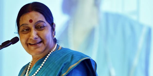 India's Foreign Minister Sushma Swaraj smiles while addressing the India Africa business forum in New Delhi, India, October 28, 2015. India hosts its biggest-ever Africa summit this week as Prime Minister Narendra Modi seeks to challenge China's dominance on a continent that is blessed with vast natural resources and has the world's fastest-growing population. REUTERS/Anindito Mukherjee