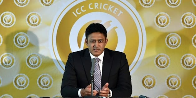 Former Indian captain Anil Kumble speaks to the media as he is inducted into the ICC Cricket Hall of Fame at the Melbourne Cricket Ground (MCG) on February 21, 2015. AFP PHOTO / Saeed KHAN --IMAGE RESTRICTED TO EDITORIAL USE - STRICTLY NO COMMERCIAL USE--        (Photo credit should read SAEED KHAN/AFP/Getty Images)