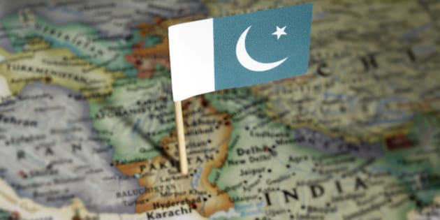 Pakistan flag in map