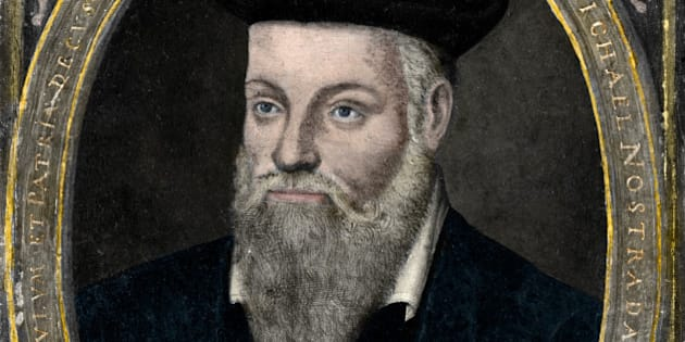 Michel De Nostred. Portrait of Michel de Nostredame 1503-1566, usually latinised to Nostradamus, French physician, apothecary and reputed seer who published collections of prophecies. Colorized painting.