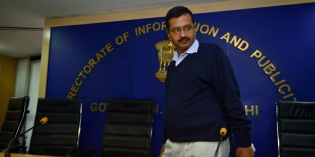 NEW DELHI, INDIA - JANUARY 6: Chief Minister Arvind Kejriwal during his press conference at Delhi Secretariat on January 6, 2015 in New Delhi, India. (Photo by Pradeep Gaur /Mint via Getty Images)