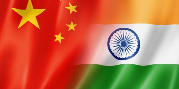 Mixed China and India flag, three dimensional render, illustration