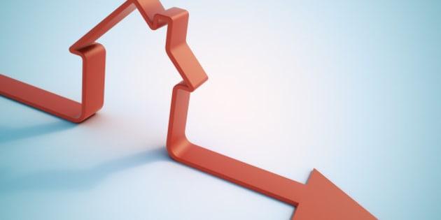 Falling home sales 3D illustration