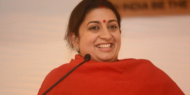 NEW DELHI, INDIA  DECEMBER 4: Smriti Irani addressing at HT LEADERSHIP Summit 2015 on December 4, 2015 in New Delhi, India. (Photo by Ramesh Pathania/Mint via Getty Images)