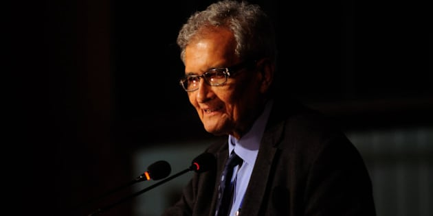 NEW DELHI, INDIA - JANUARY 4: Nobel laureate and economist professor Amartya Sen giving an inaugural lecture at the launch of the International Centre For Human Development on January 4, 2013 in New Delhi, India. (Photo by Pradeep Gaur/Mint via Getty Images)