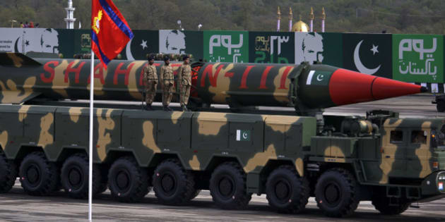 A Pakistani-made Shaheen-III missile, capable of carrying nuclear war heads, loaded on a trailer rolls down during a military parade to mark Pakistan's Republic Day in Islamabad, Pakistan, Wednesday, March 23, 2016. Pakistan's President praised his country's security forces and pledged to continue the fight against terrorism, speaking at a rally during a national holiday. During the rally, attended by several thousand people, Pakistan displayed nuclear-capable weapons, tanks, jets, drones and other weapons systems. (AP Photo/Anjum Naveed)