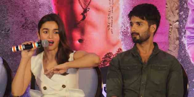 MUMBAI, INDIA - JUNE 14: Bollywood actors Alia Bhatt and Shahid Kapoor during a press conference of Udta Punjab at J W Marriott, Juhu, on June 14, 2016 in Mumbai, India. The film which was cleared for release as scheduled on 17th June 2016, with only one cut and an 'A' certification. Anurag Kashyap stated that, 'Udta Punjab is Far from politics and is closest to reality.' (Photo by Pramod Thakur/Hindustan Times via Getty Images)