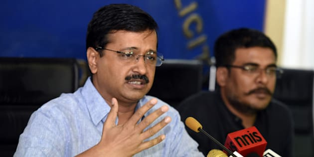 NEW DELHI, INDIA - JUNE 15: Delhi Chief Minister Arvind Kejriwal addressing a press conference on the issue of Parliamentary Secretary on June 15, 2016 in New Delhi, India. Delhi chief minister attacked the Narendra Modi-led government, asking the BJP and Congress why they were questioning the AAP government for appointing MLAs as parliamentary secretaries when they had made similar appointments in the past. President Pranab Mukherjee refused to sign a bill that allowed 21 Aam Aadmi Party MLAs to hold a second paying position as parliamentary secretary. (Photo by Sonu Mehta/Hindustan Times via Getty Images)