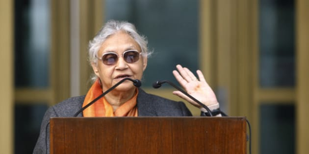 Delhi's Chief Minister Sheila Dixit speaks during the 50th anniversary celebrations of the United States embassy chancery building, marking the support of U.S.-India bilateral cooperation, in New Delhi January 5, 2009.   REUTERS/Vijay Mathur (INDIA)