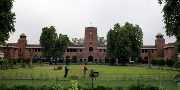 NEW DELHI, INDIA - JULY 6: An external view of St. Stephen's College at North Campus, Delhi University on July 6, 2015 in New Delhi, India. (Photo by Sonu Mehta/Hindustan Times via Getty Images)