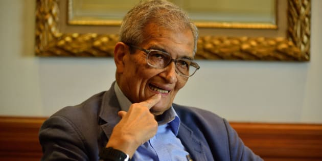 NEW DELHI, INDIA - JULY 7: Bharat Ratna and Nobel Memorial Prize in Economic Sciences awarded Economist Amartya Sen poses for a profile shoot on July 7, 2015 in New Delhi, India. (Photo by Pradeep Gaur/Mint via Getty Images)