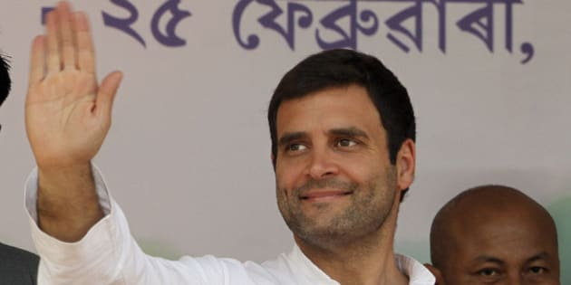 India's ruling Congress party Vice President Rahul Gandhi waves to supporters during a public rally in Gauhati, India, Tuesday, Feb. 25, 2014. The general elections are scheduled to be held later this year. (AP Photo/Anupam Nath)