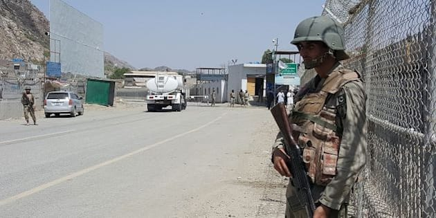 Pakistani soldiers patrol at the Torkham crossing between Pakistan and Afghanistan in Pakistan's Khyber Agency on June 14, 2016.    Afghan and Pakistani forces clashed in an escalation of tensions between the neighbouring countries, killing at least three people and forcing the closure of the main border crossing, officials said. / AFP / SAJJAD MIAN        (Photo credit should read SAJJAD MIAN/AFP/Getty Images)