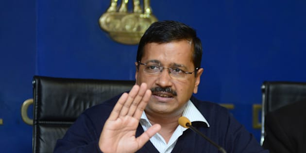 NEW DELHI, INDIA - JANUARY 11:Delhi Chief Minister Arvind Kejriwal addressing the media regarding health services of  Delhi Government  on January 11, 2016 in New Delhi, India. (Photo by Ramesh Pathania/Mint via Getty Images)