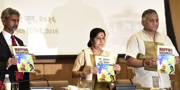 NEW DELHI, INDIA - JUNE 19: External Affairs Minister Sushma Swaraj with Minister of State V.K. Singh and Foreign Secretary S. Jaishankar during an annual press conference at Ministry of External Affairs, Jawaharlal Nehru Bhawan, on June 19, 2016 in New Delhi, India. Swaraj said, 'China is not protesting membership of India in NSG, it is only talking of criteria procedure.' She also said India would not oppose any other application for entry into the NSG but underlined the final decision should be decided on merits. (Photo by Arvind Yadav/Hindustan Times via Getty Images)