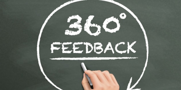 360 degrees feedback drawn by hand isolated on blackboard