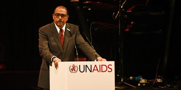 BASEL, SWITZERLAND - JUNE 13:  UNAIDS Executive Director Michel Sidibe speaks on stage at the UNAIDS Gala during Art Basel 2016 at Design Miami/ Basel on June 13, 2016 in Basel, Switzerland.  (Photo by David M. Benett/Dave Benett/Getty Images)