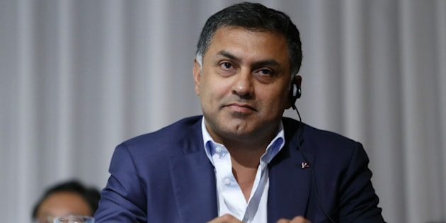 Nikesh Arora, president and chief operating officer of SoftBank Group Corp., looks on during a news conference in Tokyo, Japan, on Tuesday, May 10, 2016. SoftBank quarterly profit dived 30 percent as the Japanese company struggled to turn around unprofitable U.S. carrier Sprint Corp. Photographer: Tomohiro Ohsumi/Bloomberg via Getty Images