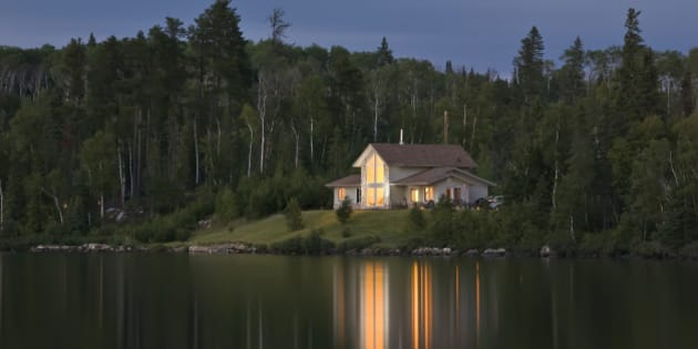 Cottage at night, Trout Lake, near Thunder Bay, Ontario