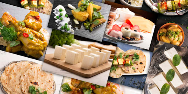 Traditional indian food. Photo collage with indian cuisine