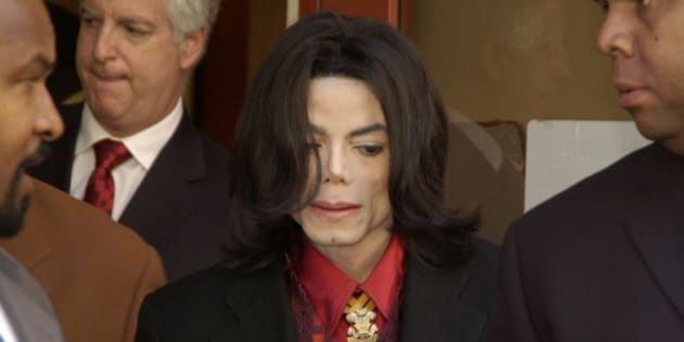 Michael Jackson departs Santa Barbara County Superior Court in Santa Maria, Calif., Wednesday, Feb. 23, 2005, after jury selection for Jackson's child molestation trial was completed.  Jury selection had been expected to last several weeks, but took only five court days, which were interrupted by a one-week break due to the death of an attorney's sister and another one-week break because Jackson was hospitalized with flu-like symptoms. (AP Photo/Joshua Gates Weisberg, pool)