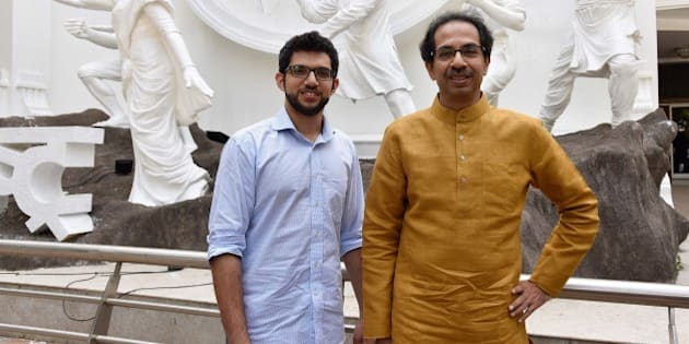 MUMBAI, INDIA - JUNE 15: (EDITOR'S NOTE: This is an exclusive shoot of Hindustan Times) Shiv Sena Chief Uddhav Thackeray and his elder son and political heir Aditya Thackeray speak to the Hindustan Times ahead of the Sena's 50th Foundation Day celebrations on June 19, at Samyukta Maharashtra Memorial Museum, near Shivaji Park, on June 15, 2016  in Mumbai, India. Uddhav Thackeray made it clear that his party will continue to criticise the policies of the BJP-led government at the Centre if they affect people adversely because his party is an ally and has not merged with the BJP. (Photo by Vijayanand Gupta/Hindustan Times via Getty Images)