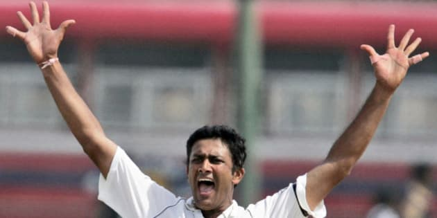 FILE- In this Aug. 1, 2008 file photo, former Indian cricketer Anil Kumble appeals for the dismissal of Sri Lankan batsman Malinda Warnapura, during the second day of the second test cricket match between India and Sri Lanka in Galle, Sri Lanka. Kumble on Thursday, June 23, 2016 has been named as the coach of India's men's cricket team for a one year term. (AP Photo/Gemunu Amarasinghe, File)