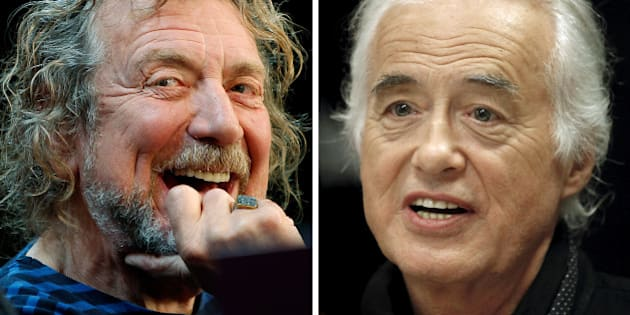 FILE PHOTO --  Lead singer Robert Plant (L) and guitarist Jimmy Page of British rock band Led Zeppelin are seen October 9, 2012 and July 21, 2015 in New York and Toronto in this combination file photo. REUTERS/Carlo Allegri, Hans Deryk/File photos