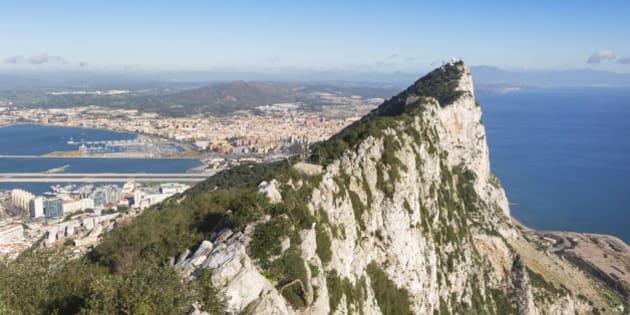 Gibraltar.  View from top of the Rock towards Spain and La Linea de la Concepcion.