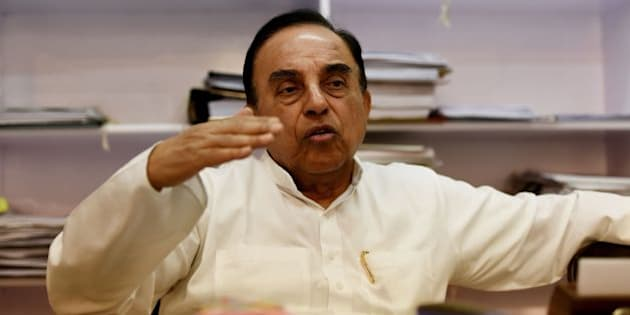 In this photograph taken on May 9, 2016, Subramanian Swamy, an Indian politician and a member of the Rajya Sabha, the upper house of the Indian parliament, gestures during an interview with AFP in New Delhi.