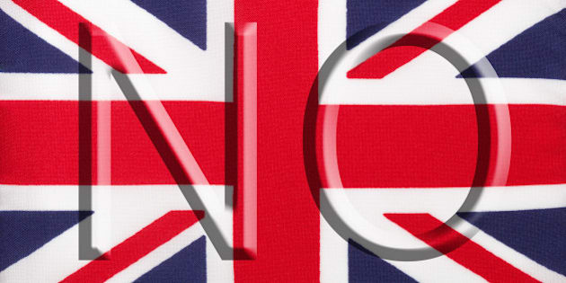 The word 'No' over the Union Jack, the national flag of the United Kingdom, encourages voters to vote against the breakup of the union. The Referendum, which determines the future of Scotland and the UK, takes place on September 18, 2014.