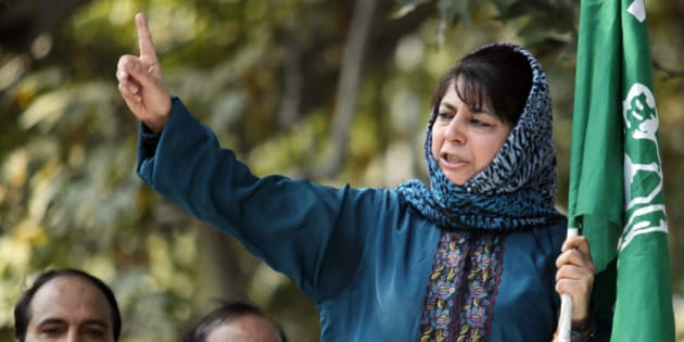 Mehbooba Mufti, president of People's Democratic Party (PDP), Kashmir's main opposition party, speaks after police stopped her protest march in Srinagar October 5, 2011. Indian police in Srinagar on Wednesday stopped a protest march of PDP led by its president Mufti to demand the resignation of Kashmir's chief minister Omar Abdullah over allegations of mass corruption by his government, Mufti said while addressing her supporters.   REUTERS/Fayaz Kabli   (INDIAN-ADMINISTERED KASHMIR - Tags: CIVIL UNREST POLITICS)