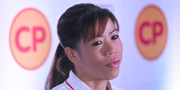 Indian boxing champion and brand ambassador Mary Kom speaks during a promotional event  during the launch of CP Foods in Bangalore on June 7, 2016.  / AFP / Manjunath Kiran        (Photo credit should read MANJUNATH KIRAN/AFP/Getty Images)
