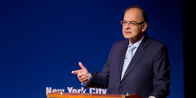 "India's Minister of Finance Arun Jaitley speaks at the Asia Society, Monday, April 18, 2016, in New York. Jaitley spoke on the topic, ""Made in India: The New Deal."" (AP Photo/Mark Lennihan)"