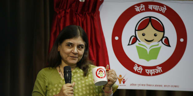 NEW DELHI, INDIA - SEPTEMBER 17: Union Minister for Women and Child Development, Maneka Sanjay Gandhi launching a logo for Beti Bachao Beti Padhao campaign at PIB on September 17, 2014 in New Delhi, India.  With many incidents of child abusegoing unreported, a drive will be launched to sensitise children to express if they encounter any inappropriate touch, request or demands, even in writing if they are not comfortable orally. (Photo by Raj K Raj/Hindustan Times via Getty Images)
