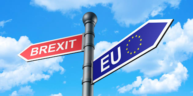 Brexit Direction Sign with sky as a background