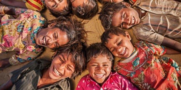 Group of Gypsy Indian children - desert village on Thar Desert, Rajasthan