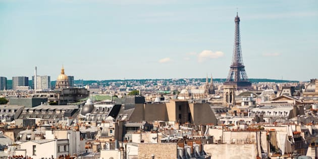 Panoramic view of Paris from the roof of The Centre Pompidou Museum building. France. Europe